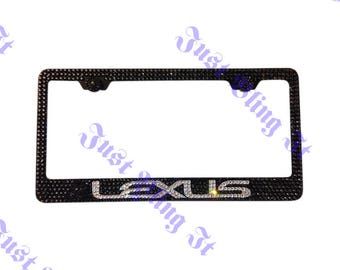 Lexus Stainless Steel bling license plate frame made with Swarovski crystal Black