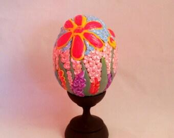 Spring Garden Egg, Primo Clay Egg, Polymer Clay Egg, Easter Decor, Home Decor, Home and Living, Chicken Egg, Decorated Egg