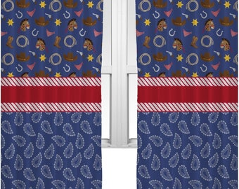 Blue Western Curtains (2 Panels Per Set) (Personalized)