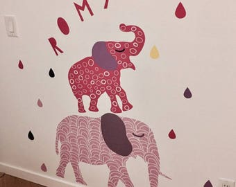 Elephant Wall Decals - Pink Elephant Fabric Wall Decals