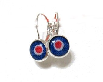 ABSTRACT ART JEWELRY - Blue red earrings - Dangle drop earrings - Minimalist jewelry - Minimal drop