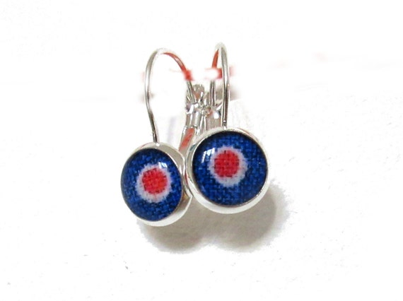 Items similar to abstract art jewelry blue red earrings for Minimal art jewelry