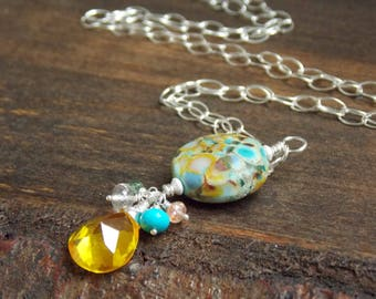 Colorful Lampwork Gemstone Necklace. Summer Nautical Beach Necklace. Artisan Jewelry. Luxe Gemstone Jewelry