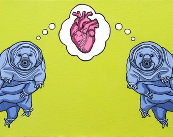 Pop Art Tardigrade Love Print, Weird and Funny Valentine's Day Gift, Unconventional Valentine's Art, Funny Ways to Say I Love You