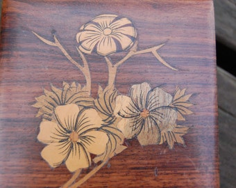 Wood Inlay Box Handcrafted in India - Wood Trinket Box - Inlay Wood Jewelry Box - Marquetry Wood Box