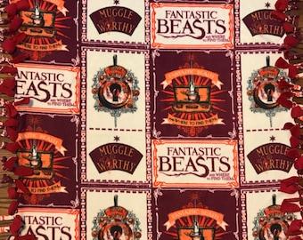 Fantastic Beasts Fleece Tie Blanket