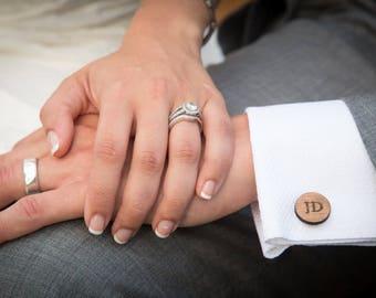 Personalized Wedding Cufflinks, Groom Wedding Cufflinks, Date and Initials Cufflinks, Engraved CuffLinks, Elegant Monogrammed Cufflinks