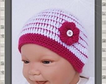 Baby Hat new born pink Hat Cap white