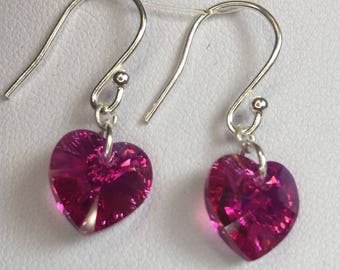 Swarovski Crystal Heart and Silver Earrings