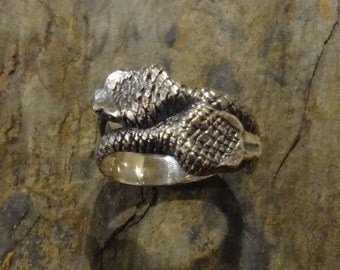 Snake Ring - Ouroboros - Handmade in Stelring or Gold