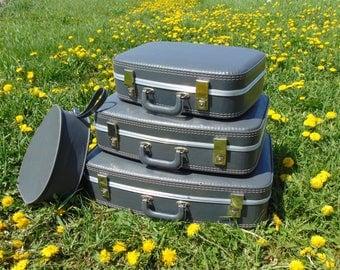 Suitcase Set, Luggage Set, Vintage Suitcase, Suitcase, Round Suitcase, Mini Suitcase, Old Suitcase, Blue Suitcase, Luggage, Retro Suitcase