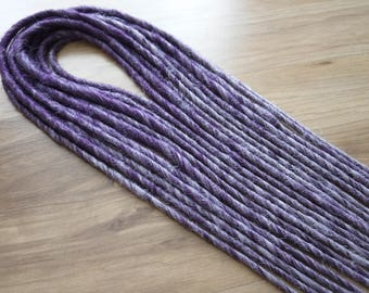 """Synthetic Dread Accent Kit - Quarter Set 10 Double Ended Smooth 16""""- 18"""" Long Sharpie Thick 'Heather' Purple to Lavender Ombre Dreads"""