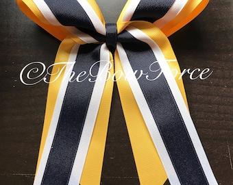 Yello Gold White Navy Softball Bow/Cheer Bow - #187294450