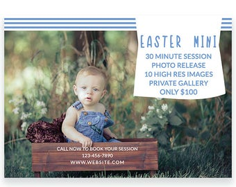 Mini Session For Photographers - Easter Spring Photography Marketing Photoshop Template - Photography Cards - Layered PSD c139