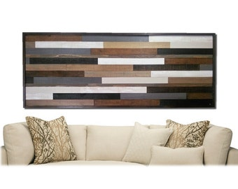 Reclaimed Wood Artwork Rustic Modern Wall Sculpture Decorative Textured Abstract Brown Gray Cream White Large Tall Narrow Custom Designs