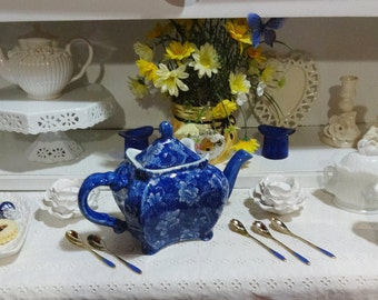Vintage Tea Pot Blue Toile