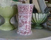 Red transferware Staffordshire vase - J.F. Wileman