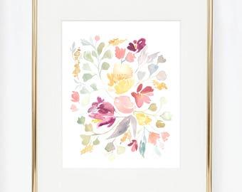Springtime Flower Pattern Watercolor Print