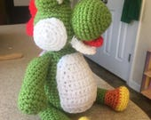 Crocheted Yoshi Inspired plush doll