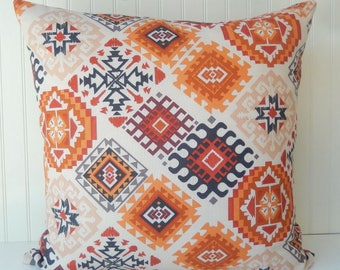 Southwestern Pillow Cover - Beige Brown Rusty Orange Pillow -  Tribal Throw Pillow  - Orange Beige Pillow - Southwest Pillow