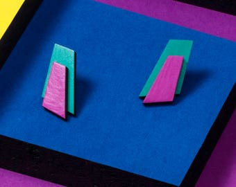 Turquoise Purple Earrings Wooden Statement Earrings Colorblock Earrings Wood Handpainted Earrings Bright Colors Earrings