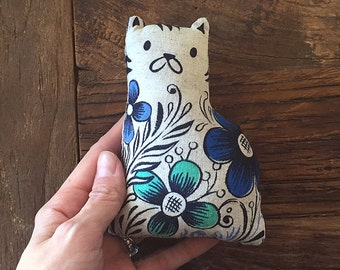 Cat toy, catnip toy, whimsical illustrated stuffed cat gift for cat lovers