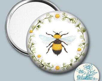 Bumble Bee Pocket Mirror, Bee Mirror, Gardener Gift, Bee Gift