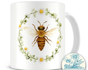Honey Bee  illustrated mug - 10oz Mug
