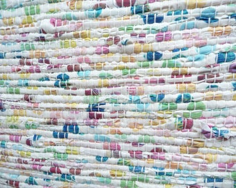 "Loom Woven Rag Rug 25 x 45"" with 3"" Fringe  Rectangular  Handmade Handwoven  Cotton  Rug Shades of White  with Blue Green Yellow  Pink"