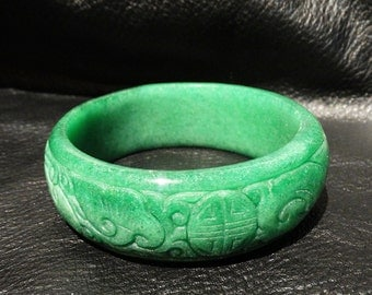 Carved Jade Bangle, Vintage, 61 mm, 97 Grams