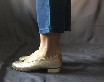 1980s Golden Leather Glitter Shoes / Hispanitas flats / golden slip on shoes
