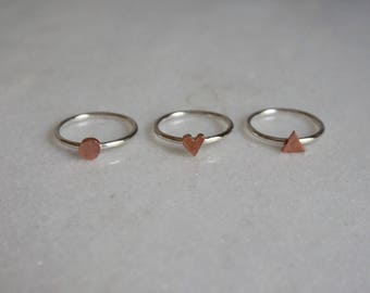 STERLING silver and copper ring - STICKTAILS