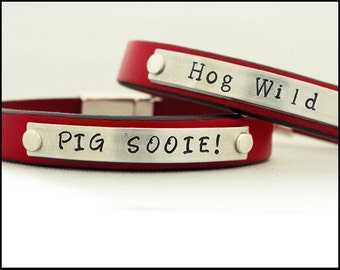 Razorback Bracelet, University of Arkansas College, Graduation Gift, Gift for Razorback Fan, Calling the Hogs, Personalized Leather Bracelet