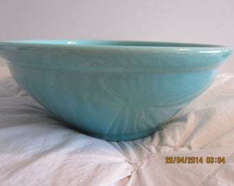 Turquoise Blue Vintage Ceramic Mixing Bowl or Salad/Fruit Display - Perfect - GREENCORNMOON15%Off