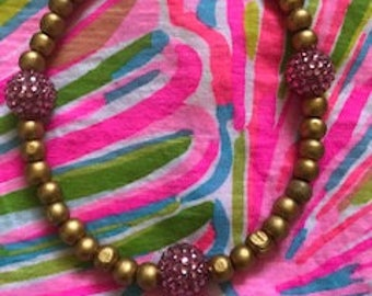 gold and hot pink rhinestone beaded necklace Lilly Pulitzer inspired