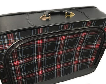 Vintage Red Plaid Suitcase - Soft Shell Suitcase