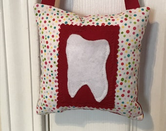 Tooth Fairy Pillow, Girls Tooth Fairy Pillow, Polka dot tooth fairy pillow