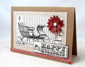 Happy Holidays Card - Christmas Card - Vintage Style Christmas Card - Sleigh Card - Blank Card - Kraft Card - Burlap Accent - Rustic Style