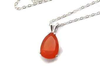 Natural Carnelian Necklace - Natural Orange Carnelian Jewelry - Pear Cut Gemstone Necklace - Sterling Silver Carnelian Necklace