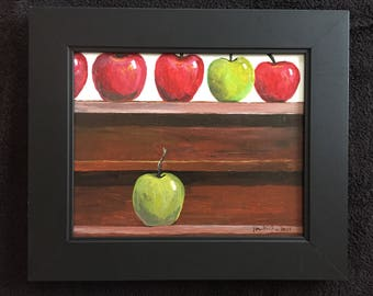 Isolated Apple Original Acrylic Still Life Painting