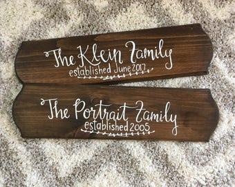 "Custom Family Name Plaque//22.5x6""//Hand-lettered//Wedding Gift//Family Name Sign"