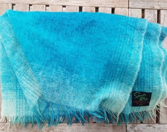 Turquoise ombre mohair vintage Sport's Rug from Scotland