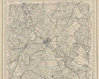 Dallas County, Texas, 1880's, Map Print