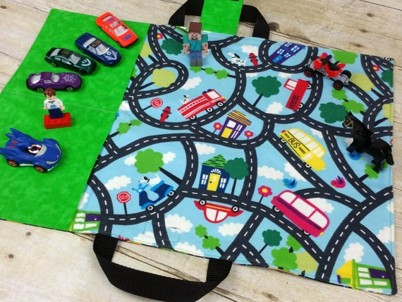 Fabric Roads For Toy Cars : Kids toy car play mat travel tote for hotwheels and matchbox