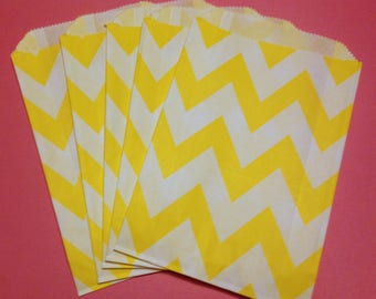 CLEARANCE! Set of 12 - Paper Bags with Yellow Chevron Design