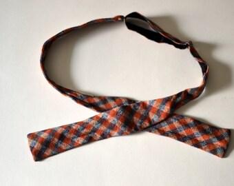 Vintage SLUB COTTON Checked Plaid Orange/Blue/White Square End Batwing Bowtie Adjusto-Tie