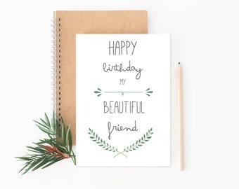 Best Friend Card // Happy Birthday Card // Friend Birthday Card // Greeting Card