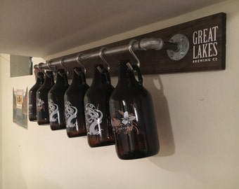 Rustic Industrial Growler Rack/Display/Storage/Organization – Perfect Gift for Craft Beer Lovers!! (Growlers NOT Included)