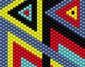 Geometric Chain Seed Bead Peyote Cuff Beaded Bracelet Pattern