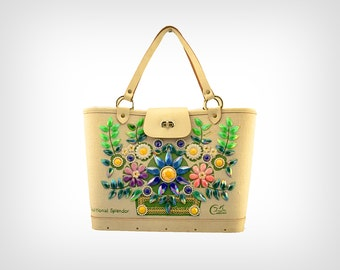 "60s Purse // 1960's Enid Collins ""Traditional Splendor"" Bejeweled Bucket-Style Handbag"